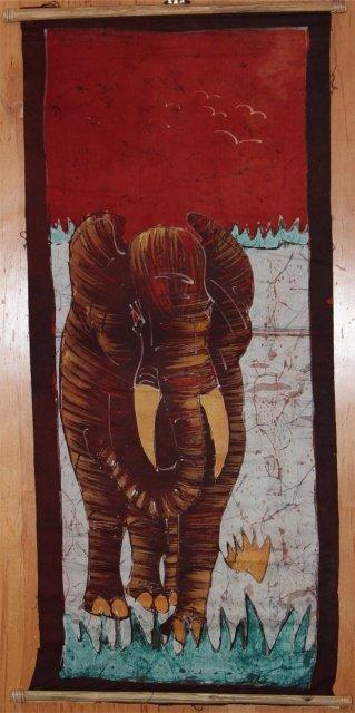 Ivory Coast Batik Elephant wall hanging #013
