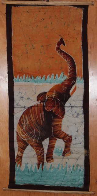 Ivory Coast Batik Elephant wall hanging #017
