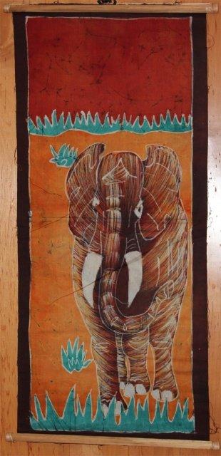 Ivory Coast Batik Elephant wall hanging #020