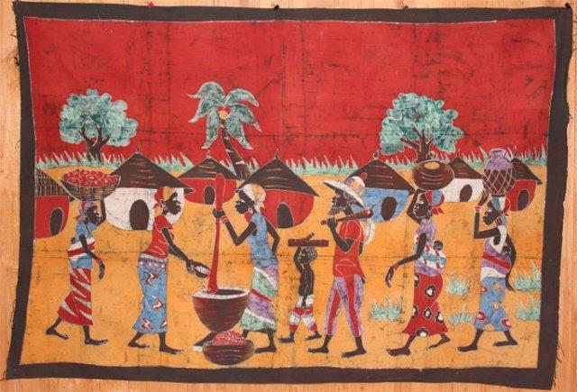 Ivory Coast Batik Village Life panel #021