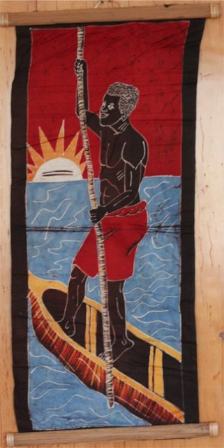 Ivory Coast Batik Villager wall hanging  #022