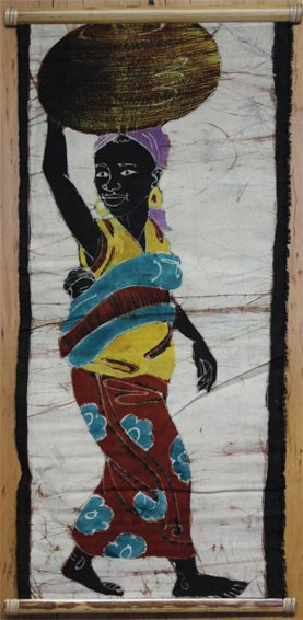 Ivory Coast Batik Villager wall hanging #023
