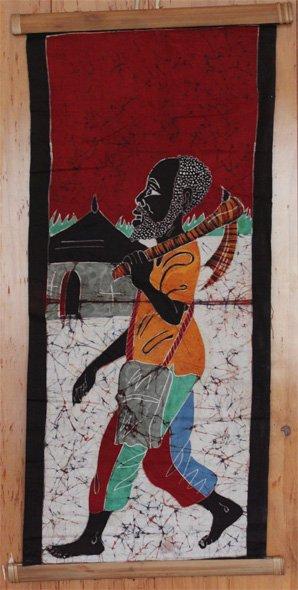 Ivory Coast Batik Villager wall hanging #029