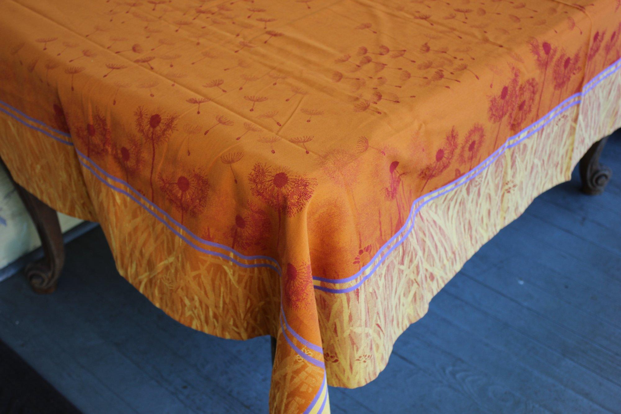 3 Sizes French Jacquard Tablecloths Dandelions (Orange)