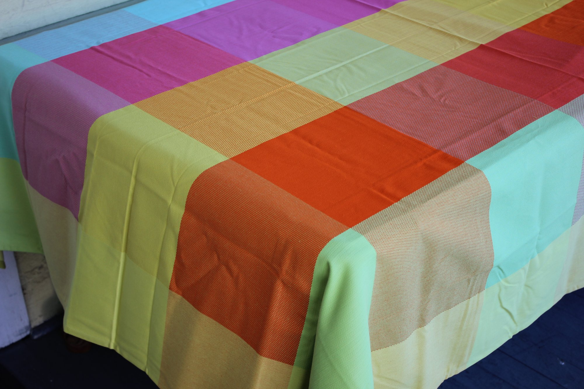 3 Sizes French Jacquard Tablecloths Checkered (Pastel)