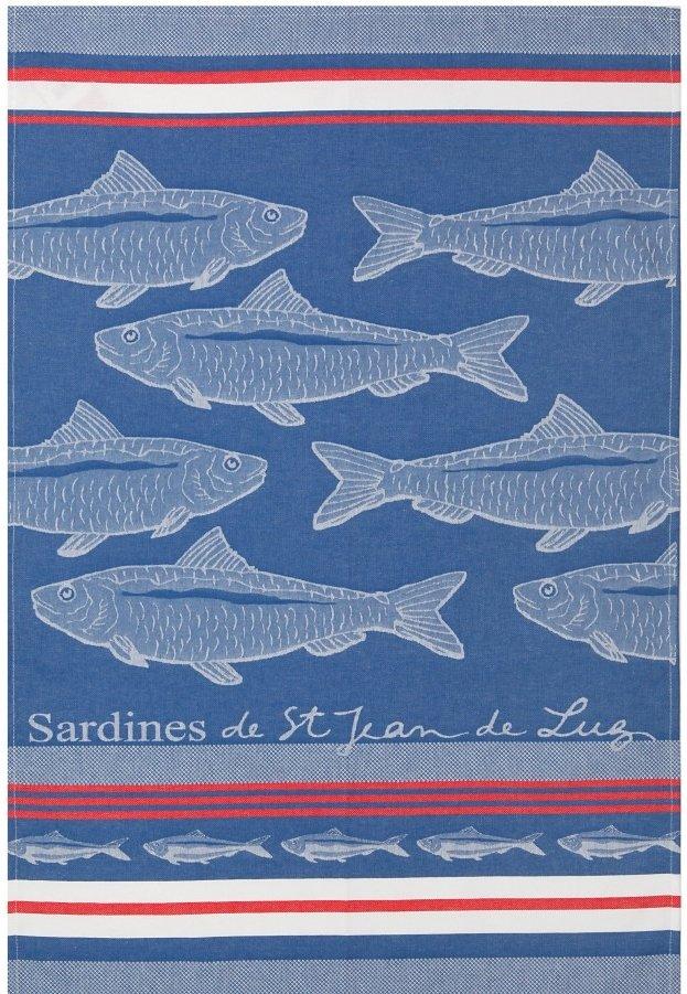 Jean Vier Blue Sardines tea towel