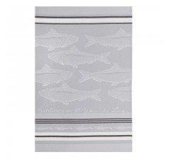 Jean Vier Silver Sardines tea towel
