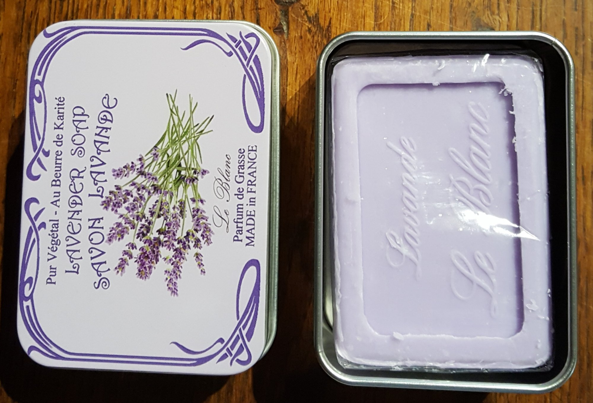 French Soap in a tin by Le Blanc (Lavender)