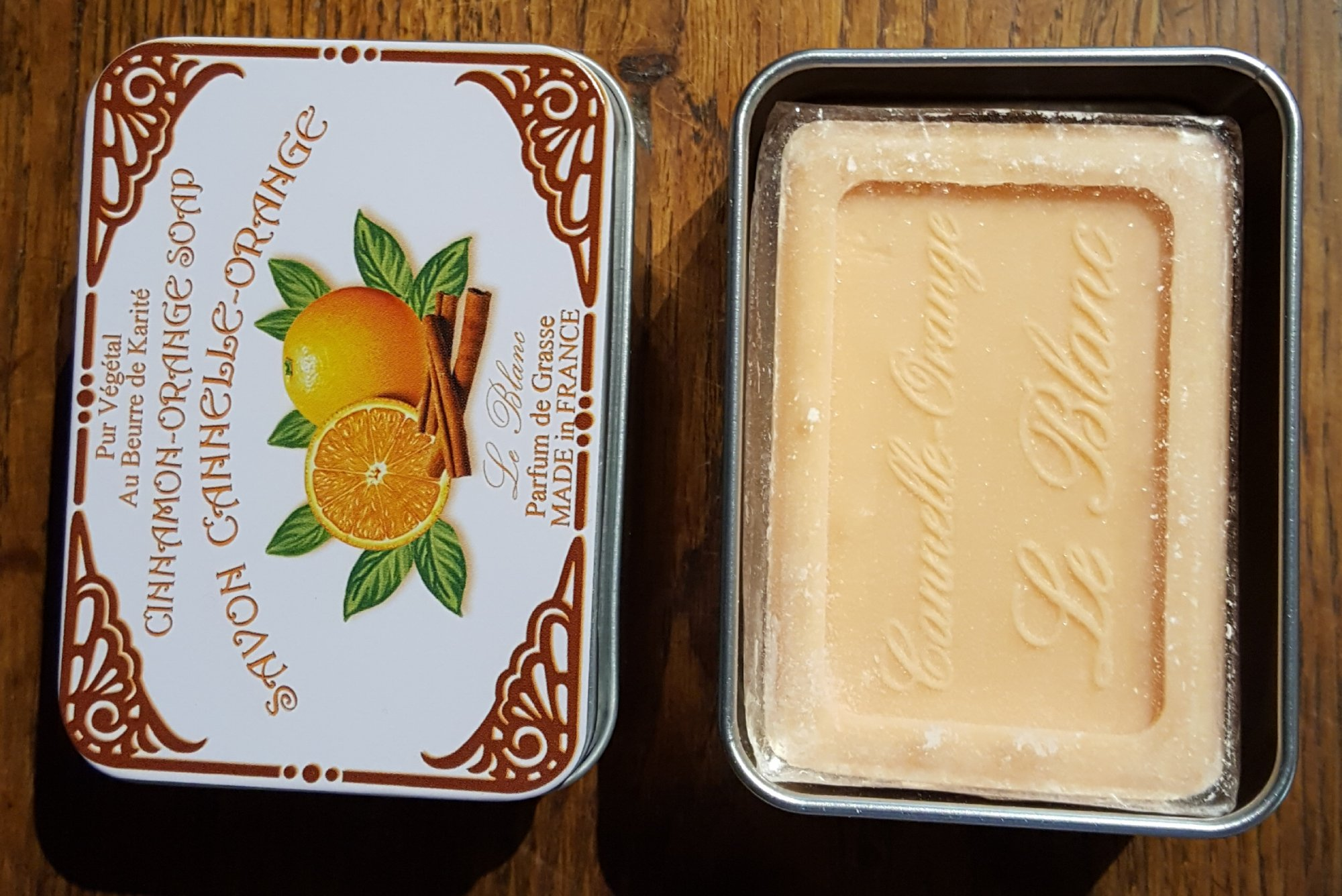 French Orange and Cinnamon Soap in a tin by Le Blanc