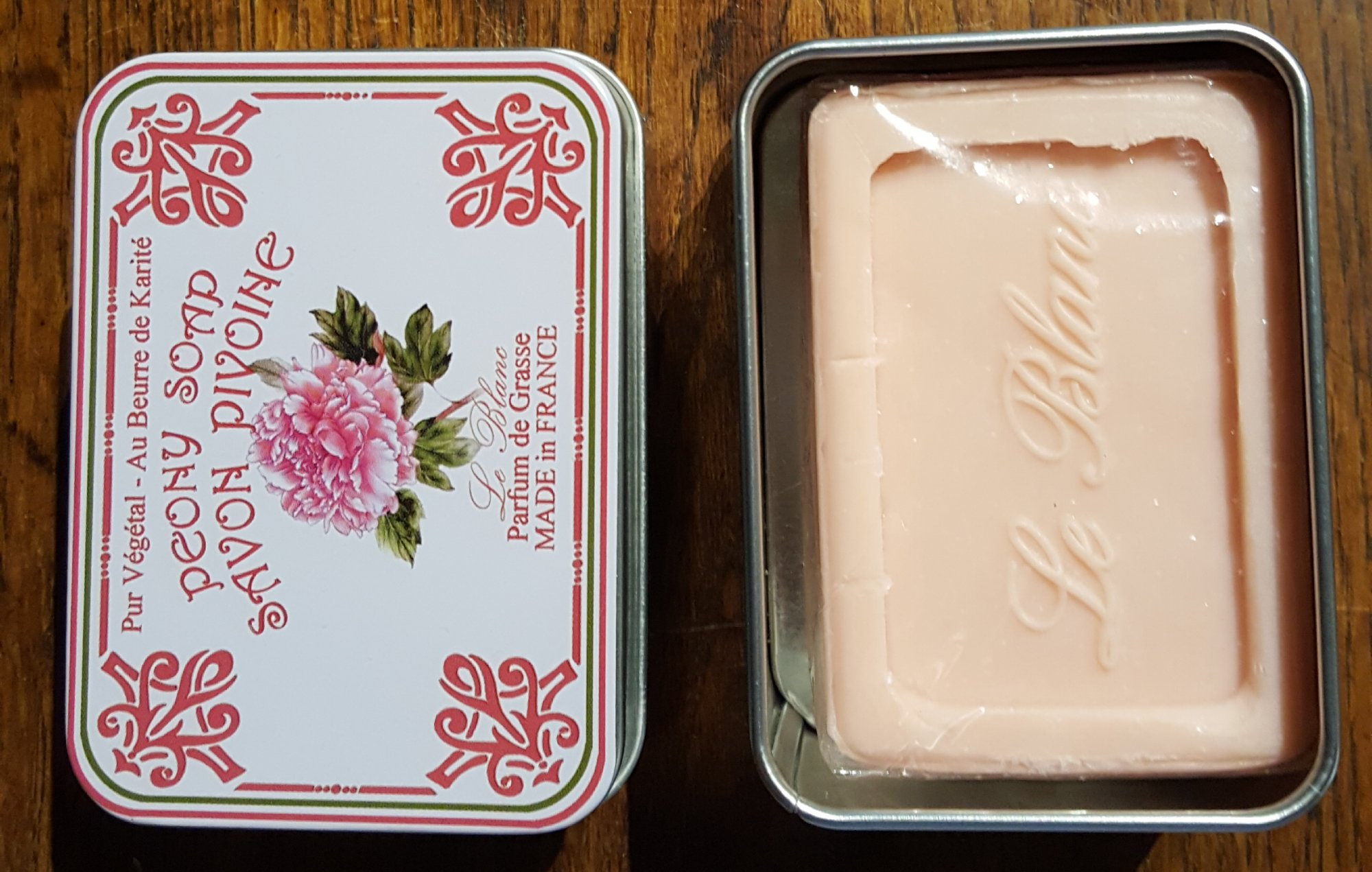 French Soap in a tin by Le Blanc (Peony)