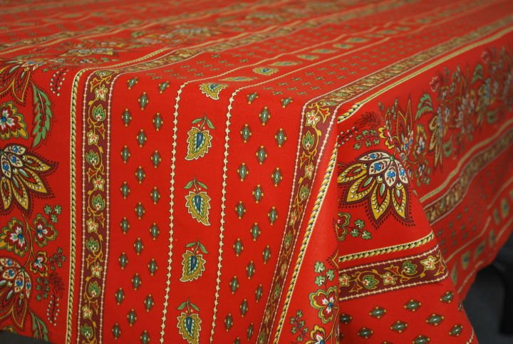 84 French Acrylic-Coated Rectangular Tablecloth Lisa (Red)
