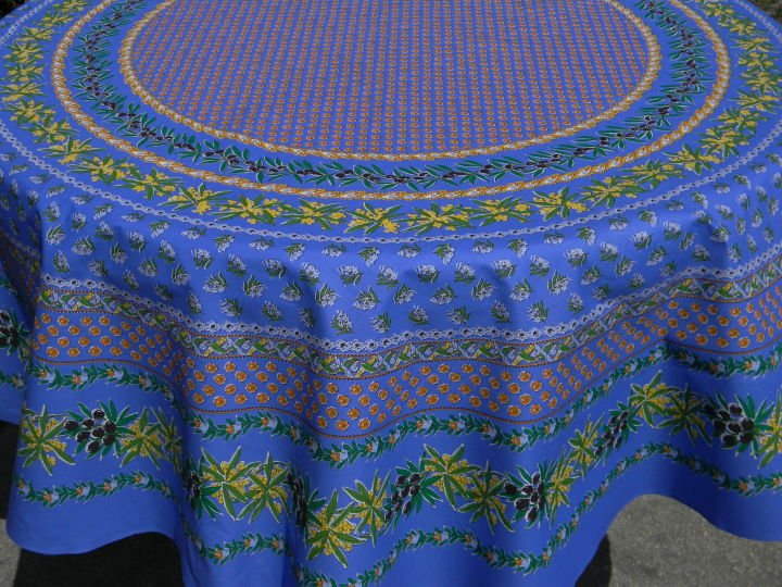 70 French Cotton Round Tablecloth Olive & Mimosa (Blue)