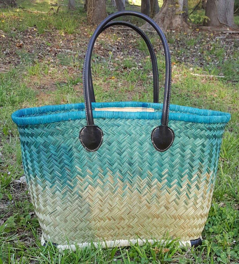 Madagascar Basket - Turquoise/Natural