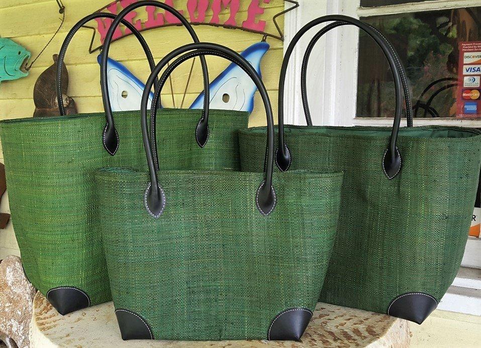 Madagascar Raffia Bag in Green