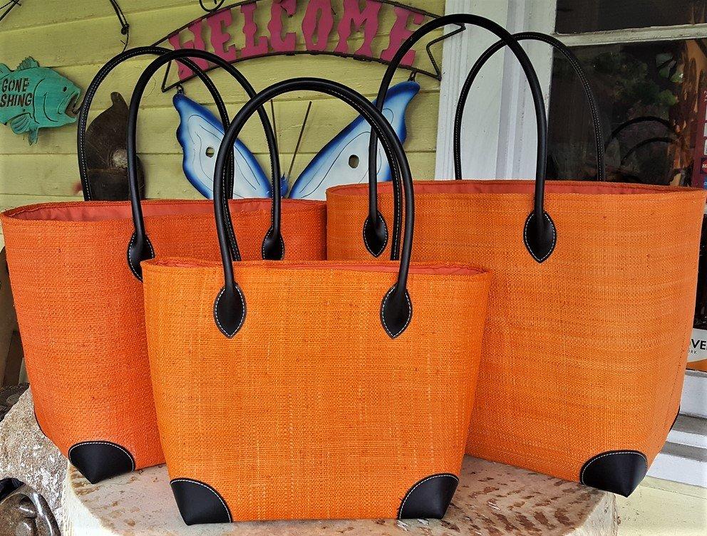 Madagascar Raffia Bag in Orange