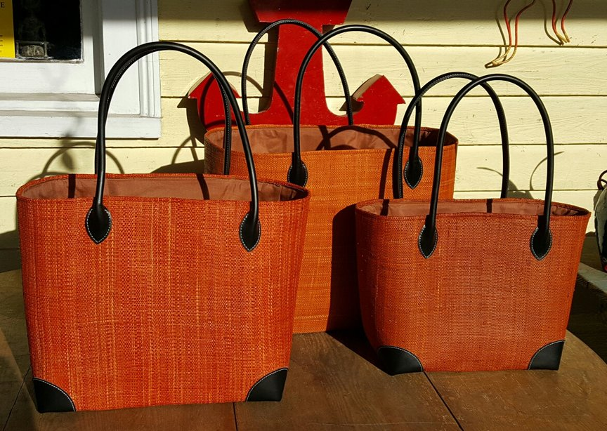 Madagascar Raffia Bag in Persimmon
