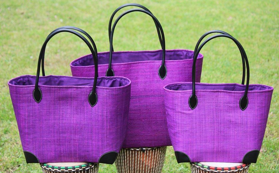 Madagascar Raffia Bag in Plum