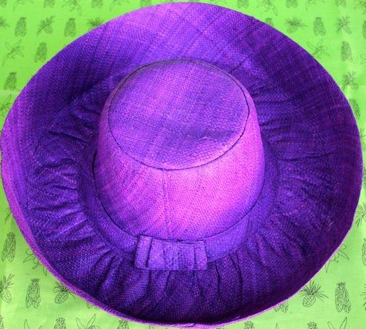 Madagascar Classic Brimmed Raffia hat in Plum