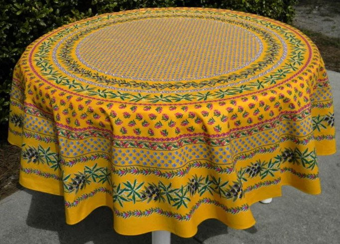 70 French Acrylic-Coated Round Tablecloth Olive & Mimosa (Yellow)