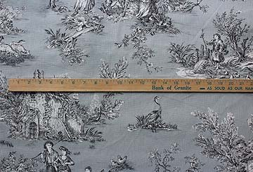 French Pastoral toile on blue/gray#80