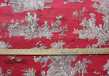 French Pastoral toile on red #082