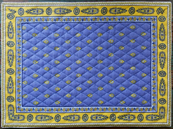 Cotton Quilted French Placemat (Blue & Yellow)