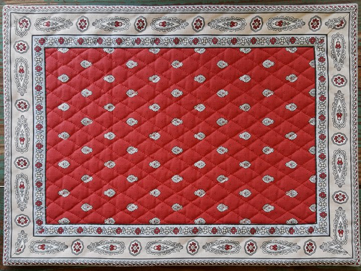 Cotton Quilted French Placemat (Red)