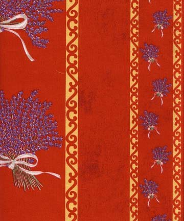Red lavender border fabric #295