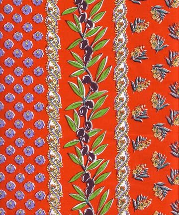 Red olive French border fabric #358