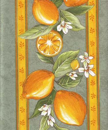 Green lemon border fabric #435