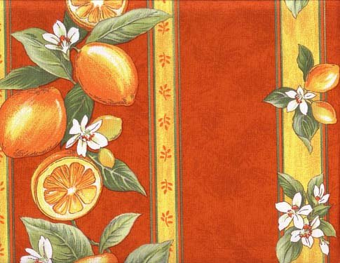 Orange Lemon border fabric #436