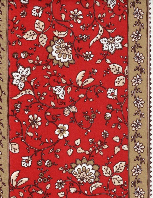 French Castellane fabric (Red & Tan border) #549
