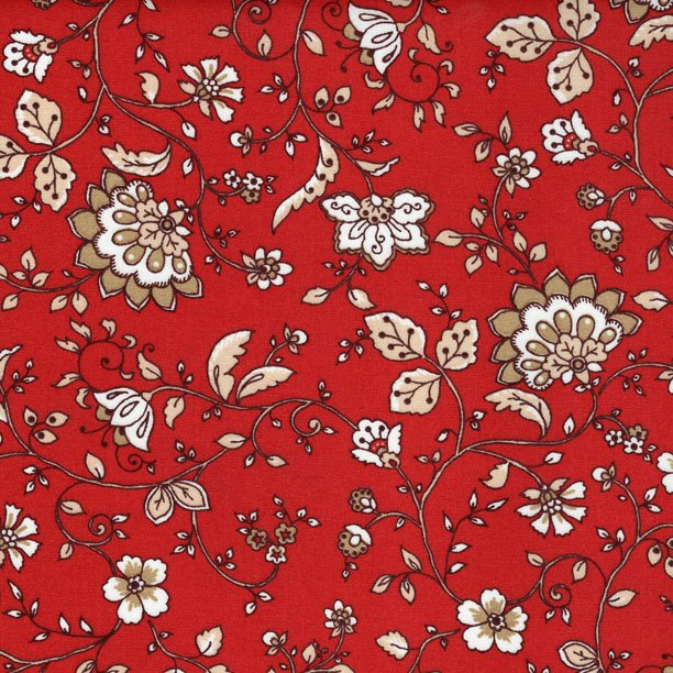French Montjoux fabric (Red & Tan) #550