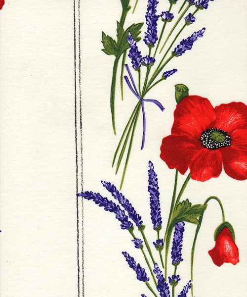 Acrylic coated french red and white poppy border fabric 580 mightylinksfo