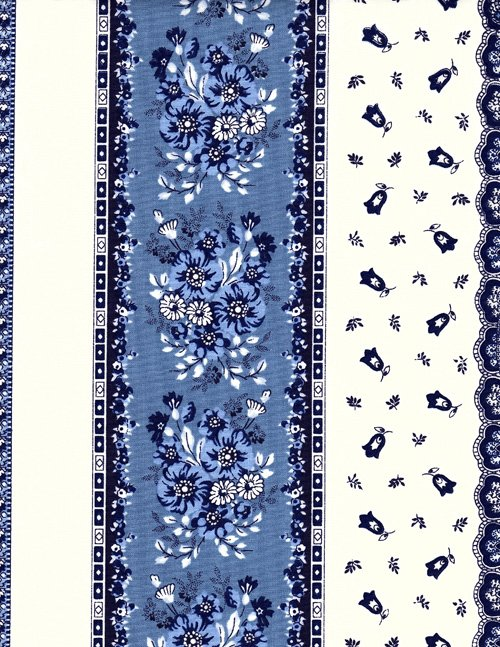 French blue and white acrylic coated fabric #581