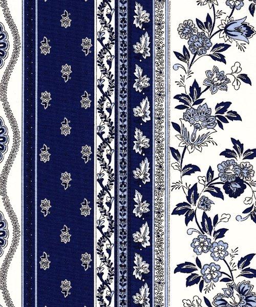 Blue and White Avignon stripe fabric piece #587