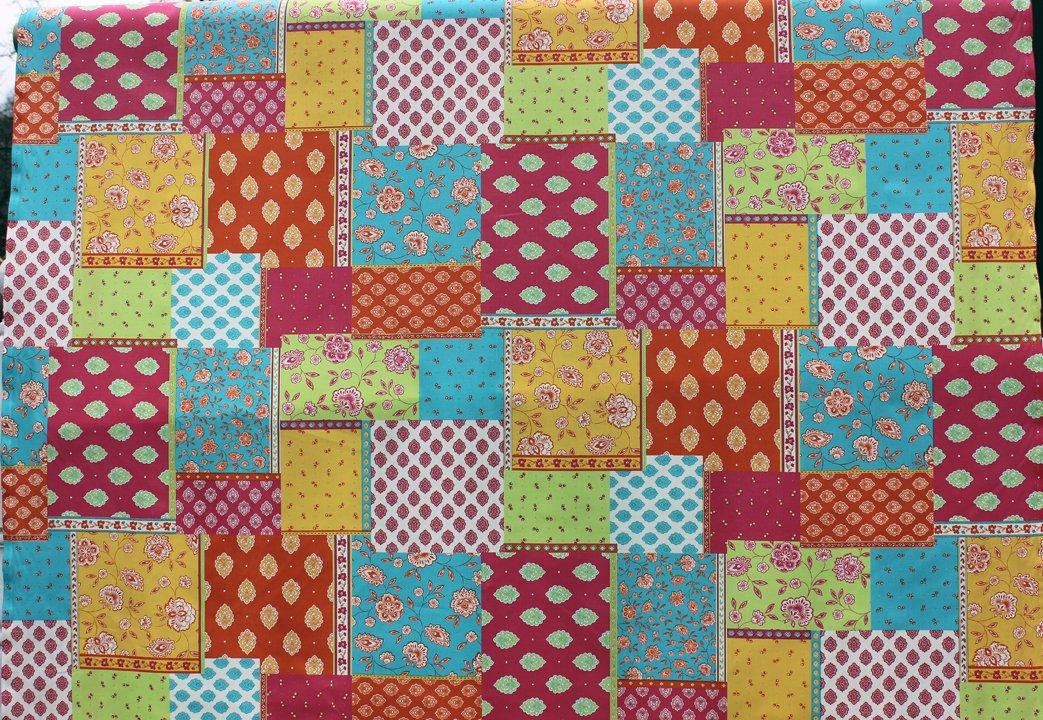 Aqua Orange and Yellow French Patchwork fabric #589