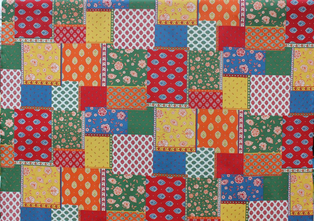 Red Blue Green and Gold French Patchwork fabric #590