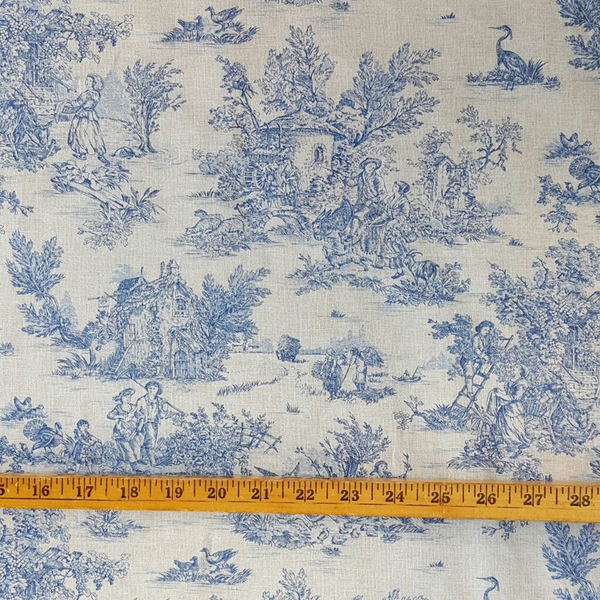 French Pastoral toile fabric (Blue) #593