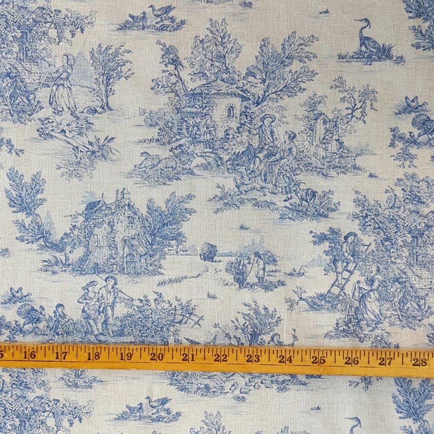 Blue pastoral toile quilt piece #593