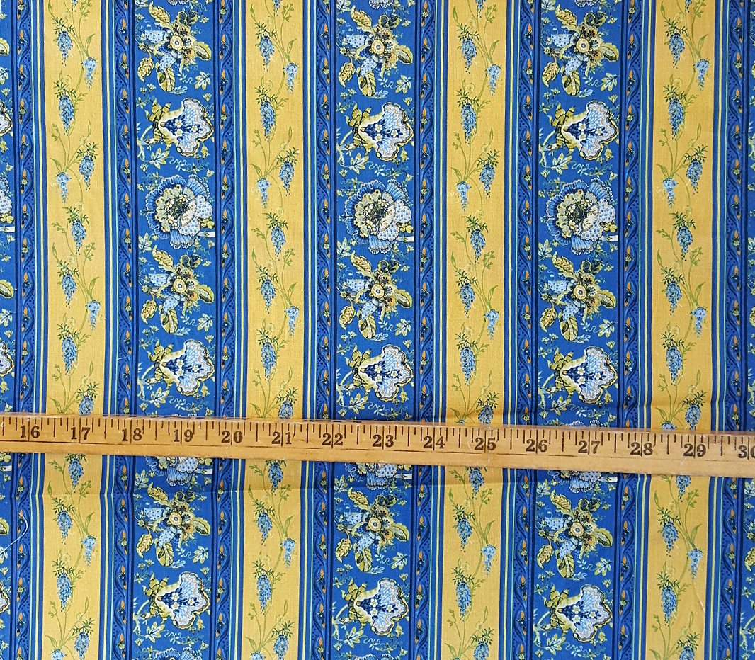 Blue and gold Valdrome fabric piece #595