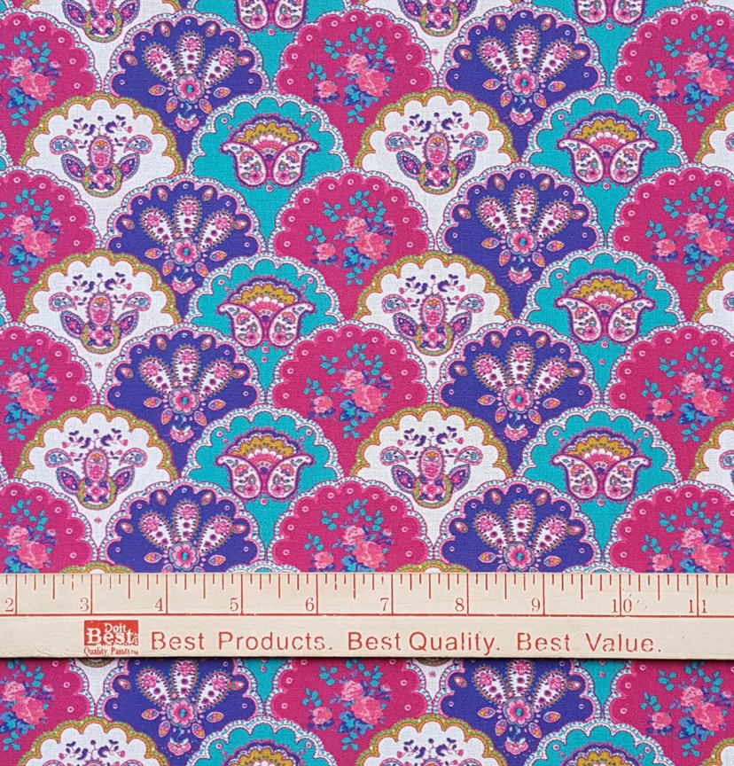 Valdrome Berry and Teal quilt piece #641
