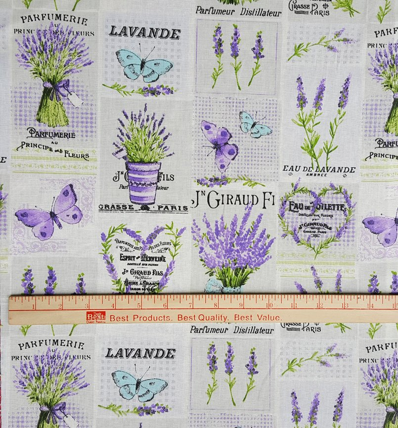French Lavender & Butterfly fabric #642