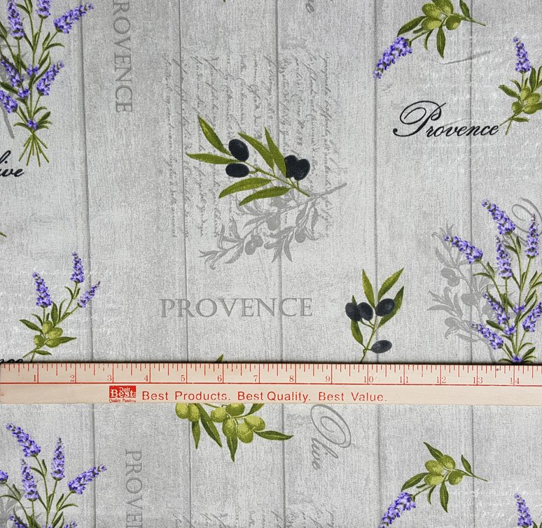 Provence fabric with lavender and olives #643