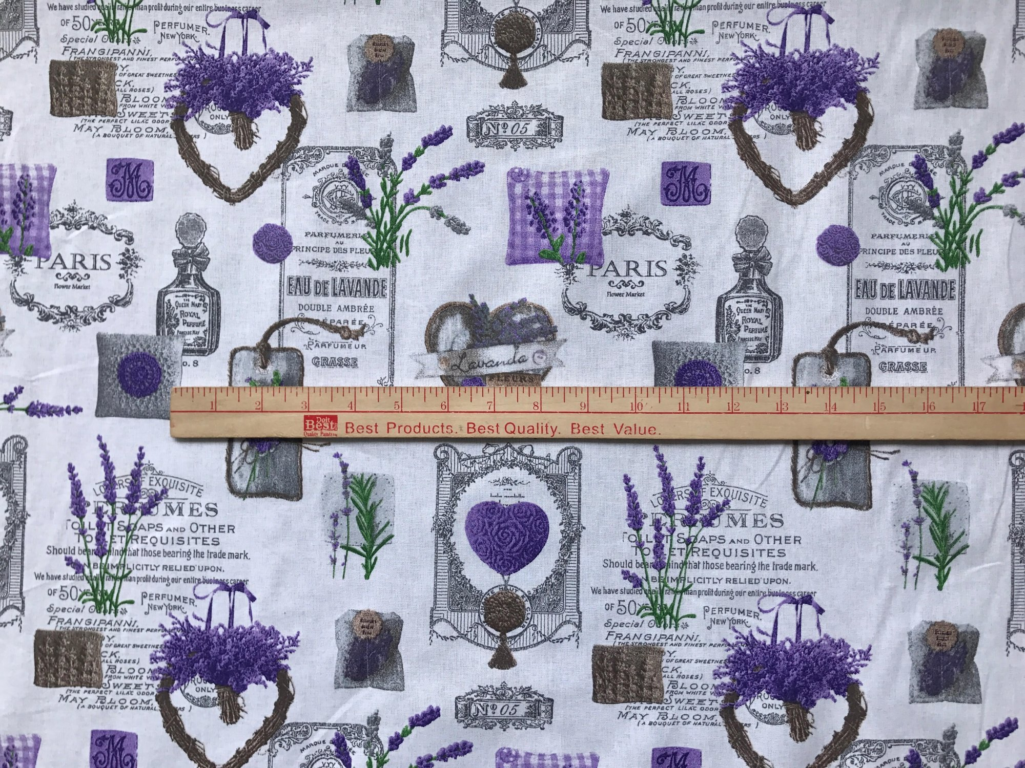 French Lavender with Labels Quilt Piece #649
