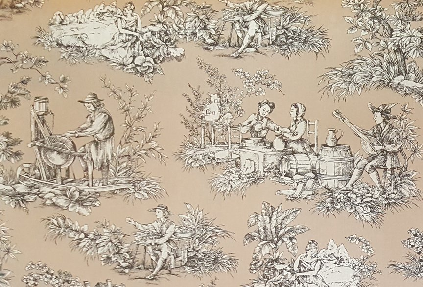 French Pastoral toile fabric (Tan) #650