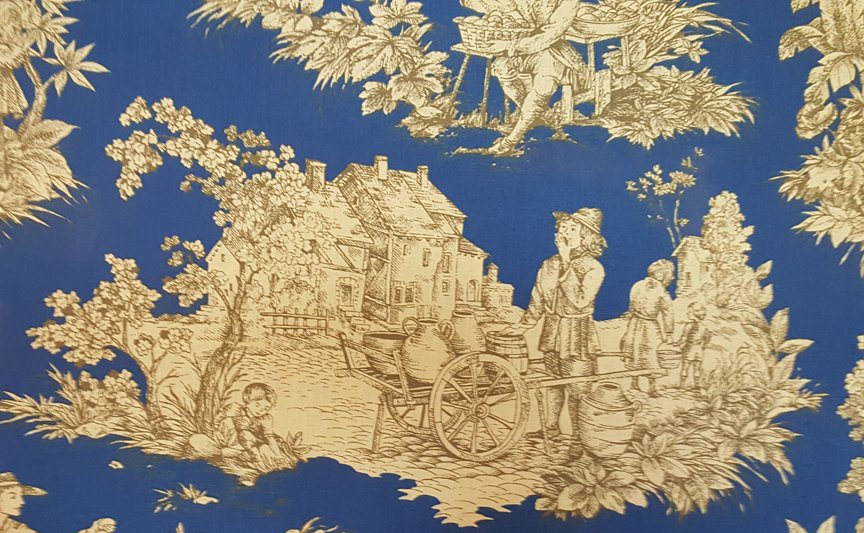 French Pastoral toile fabric (Blue) #651