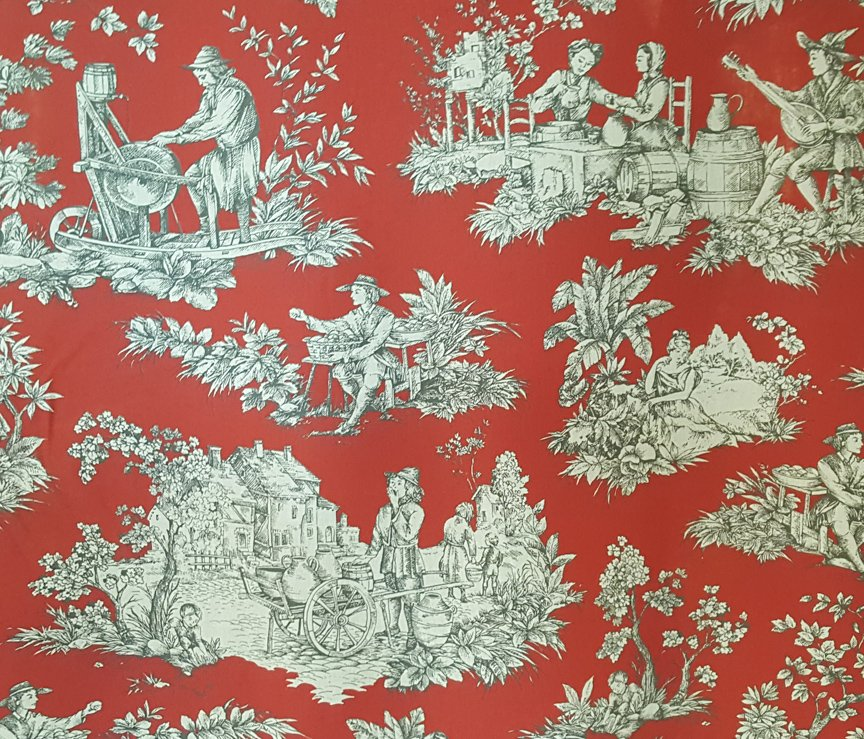 French Red Pastoral Toile Quilt Piece #652