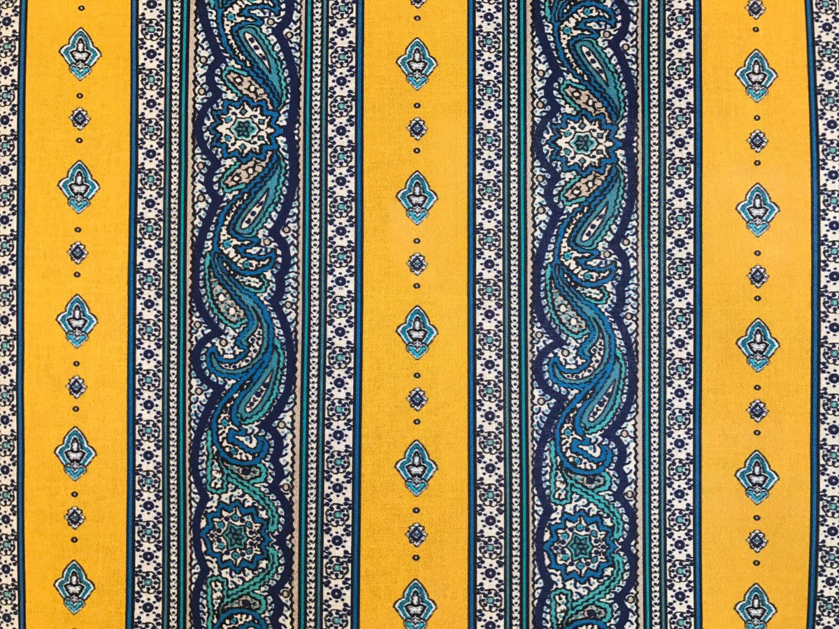 French Valdrome Galon Fabric (blue and gold) #657
