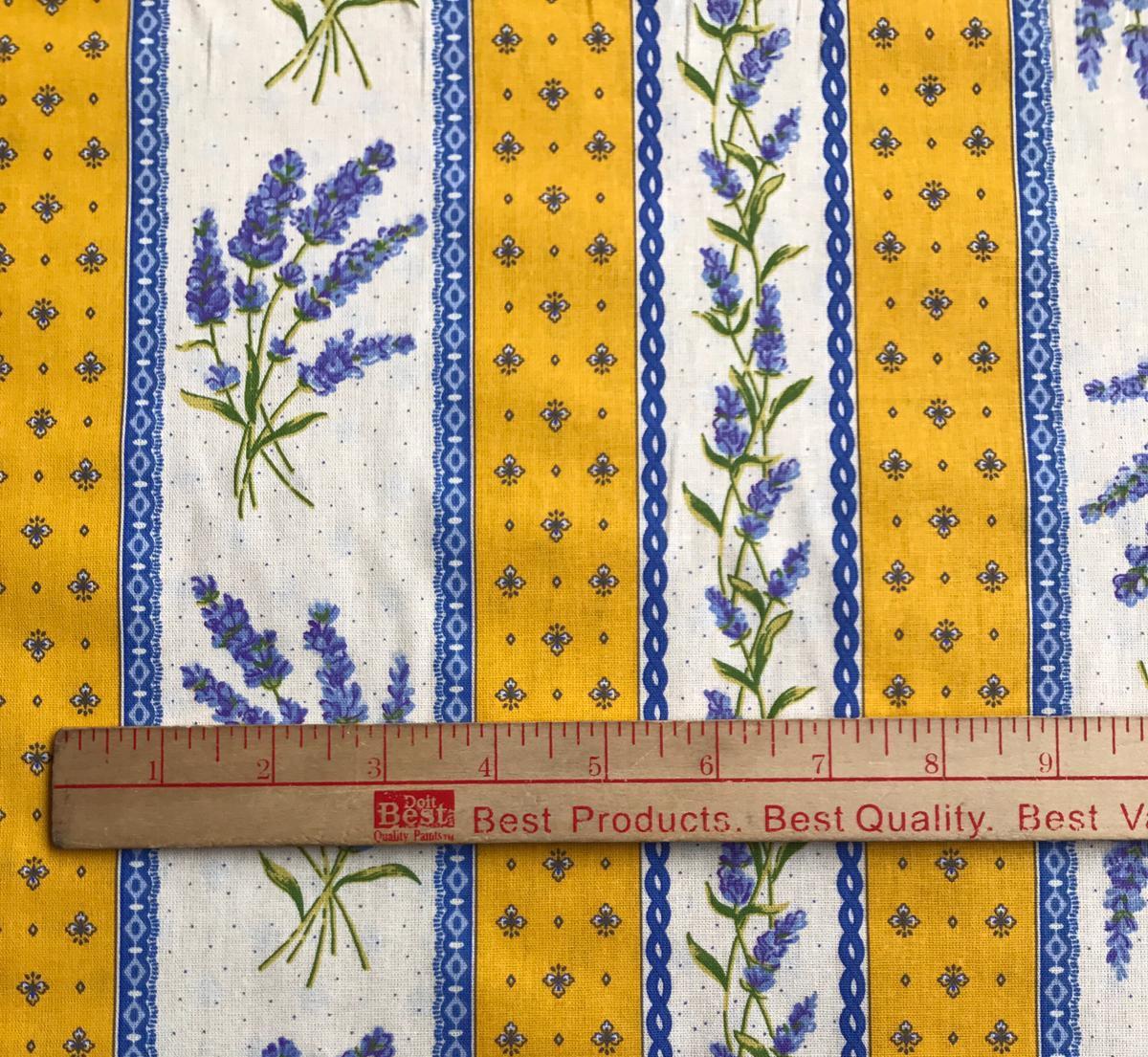 Yellow Lavender border fabric #663